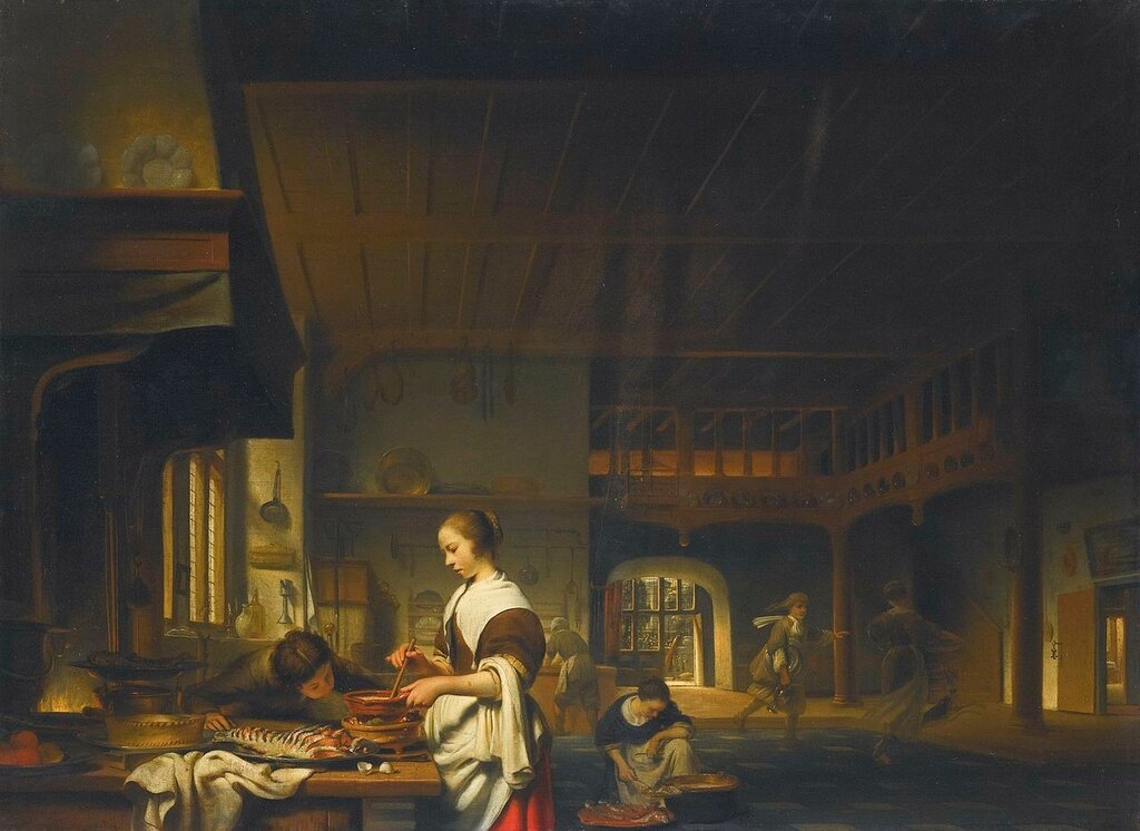 Cornelis_Bisschop_-_Kitchen_interior_with_a_woman_cooking_and_a_boy_blowing_flames.jpg