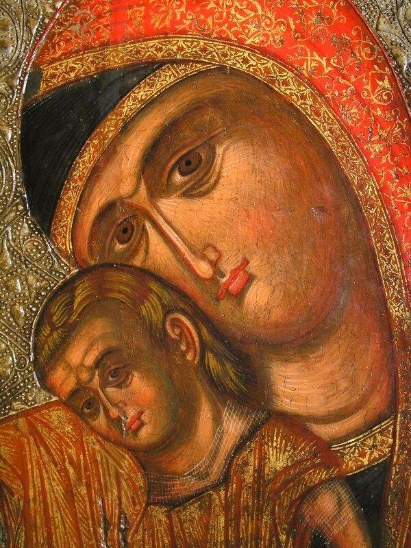 """Икона Божией Матери, именуемая """"Милостивая"""" (Киккская). Кипр. Фрагмент."""