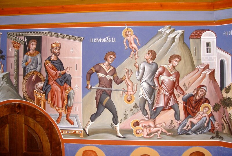 Избиение Вифлеемских младенцев. Фреска архимандрита Зинона в монастыре Симонопетра на Афоне.