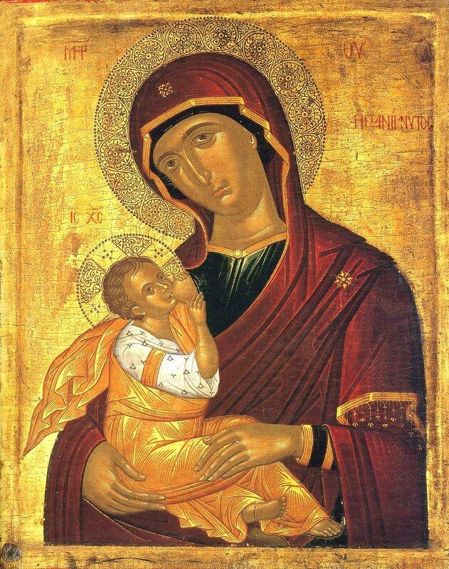 """Икона Божией Матери """"Млекопитательница"""". Греция, XV век. Иконописец Андреас Рицос или его круг."""