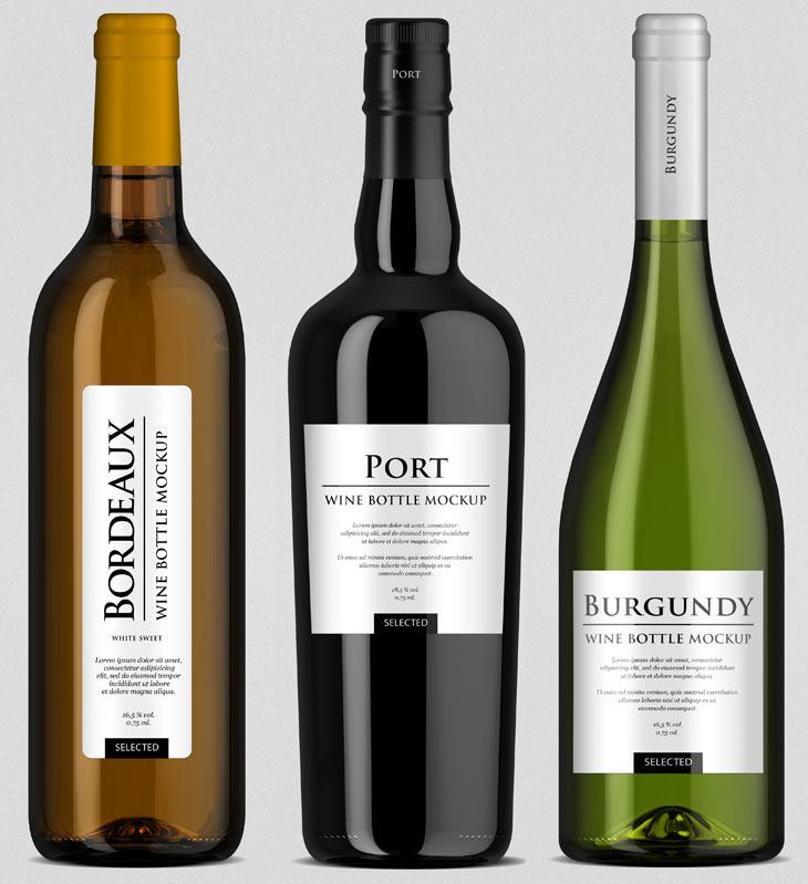 Винные бутылки PSD