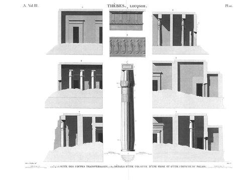 Храм Амона в Луксоре, верхний Нил, колонна, поперечные разрезы, рисунок карнизов