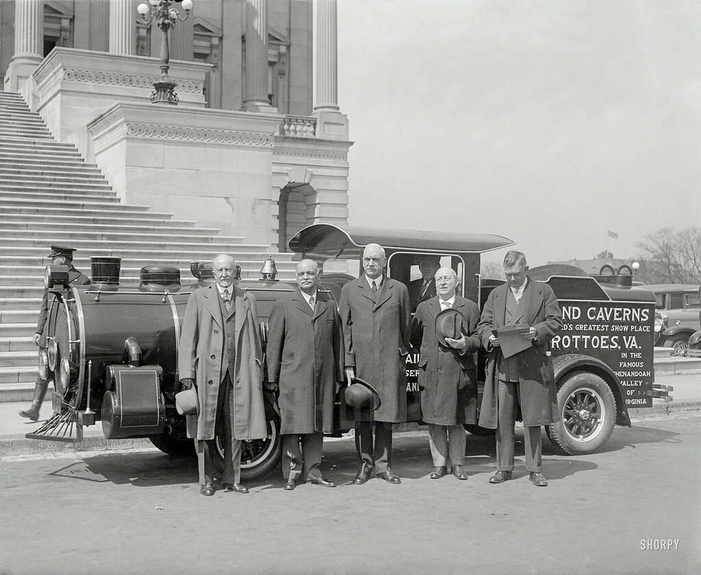 "Circa 1930. Vice President Curtis at Capitol with ""steam"" car"