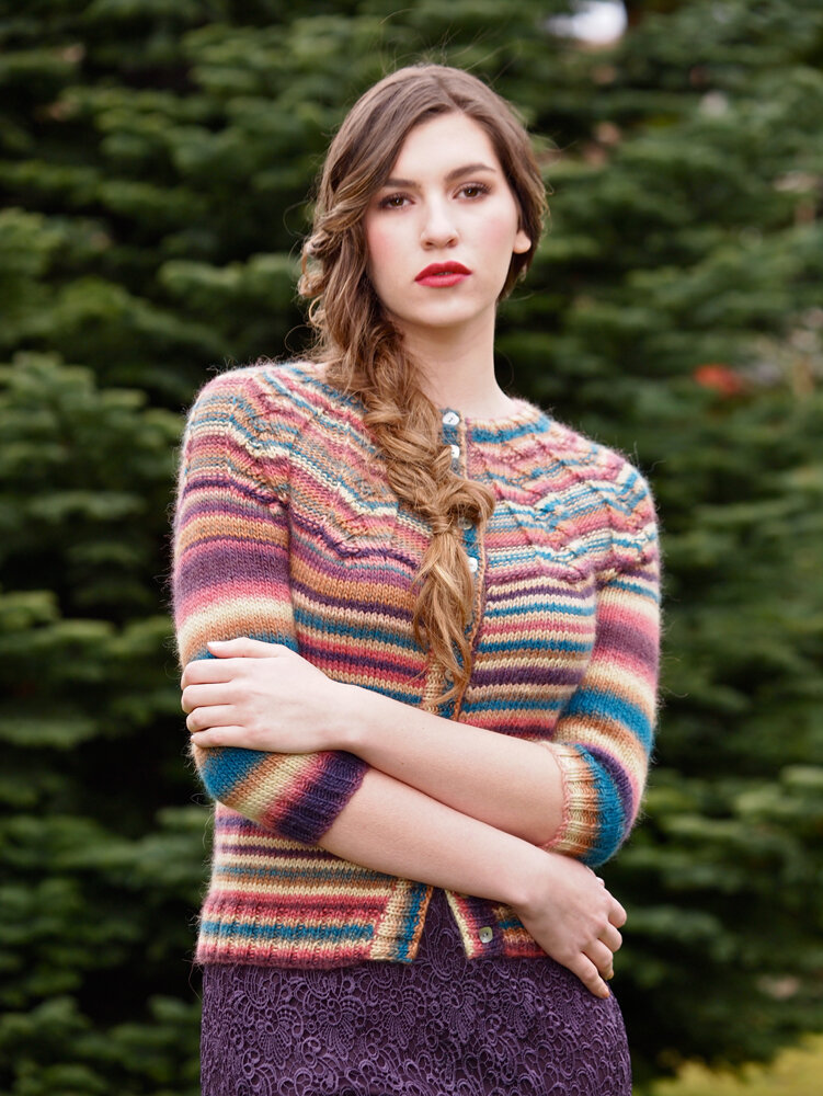 Кардиган Herringbone Yoke Cardigan, The Knitter 76