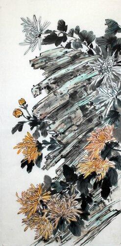 2014 12 20 Хризантемы на камнях 68х33 см.JPG