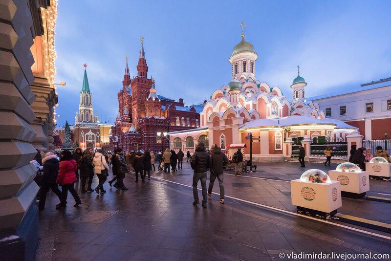 Казанский собор на Красной площади. Предновогодняя Москва 2015.
