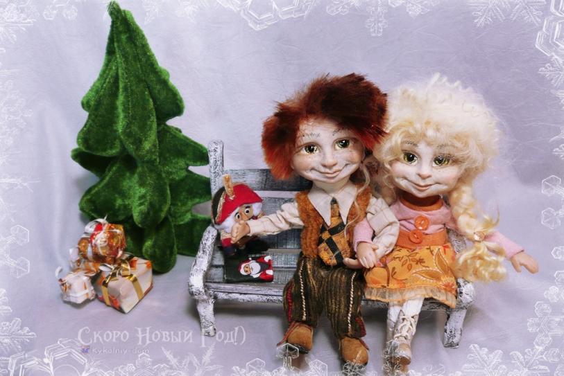 куклы малыши Наташа и Антоша. Скоро Новый Год. Дед Мороз и Снегурочка.