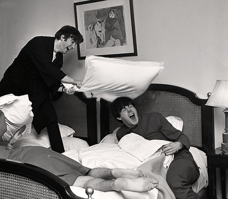 Beatles Pillow Fight, George V hotel, Paris, 16 January, 1964(2)