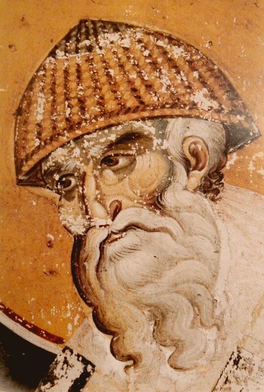 Святитель Спиридон, Епископ Тримифунтский, Чудотворец. Фреска Мануила Панселина в монастыре Протат на Афоне. Конец XIII века.