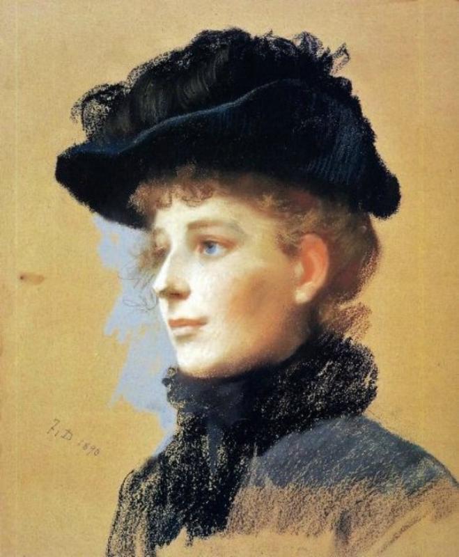 Frank Duveneck (American artist, 1848–1919) Woman with a Black Hat.jpg
