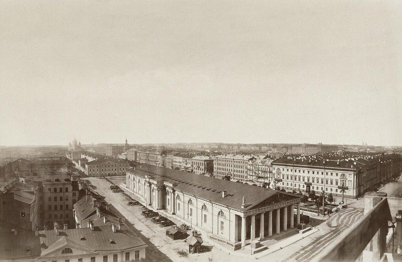 Панорама города со зданием Манежа 1870-е