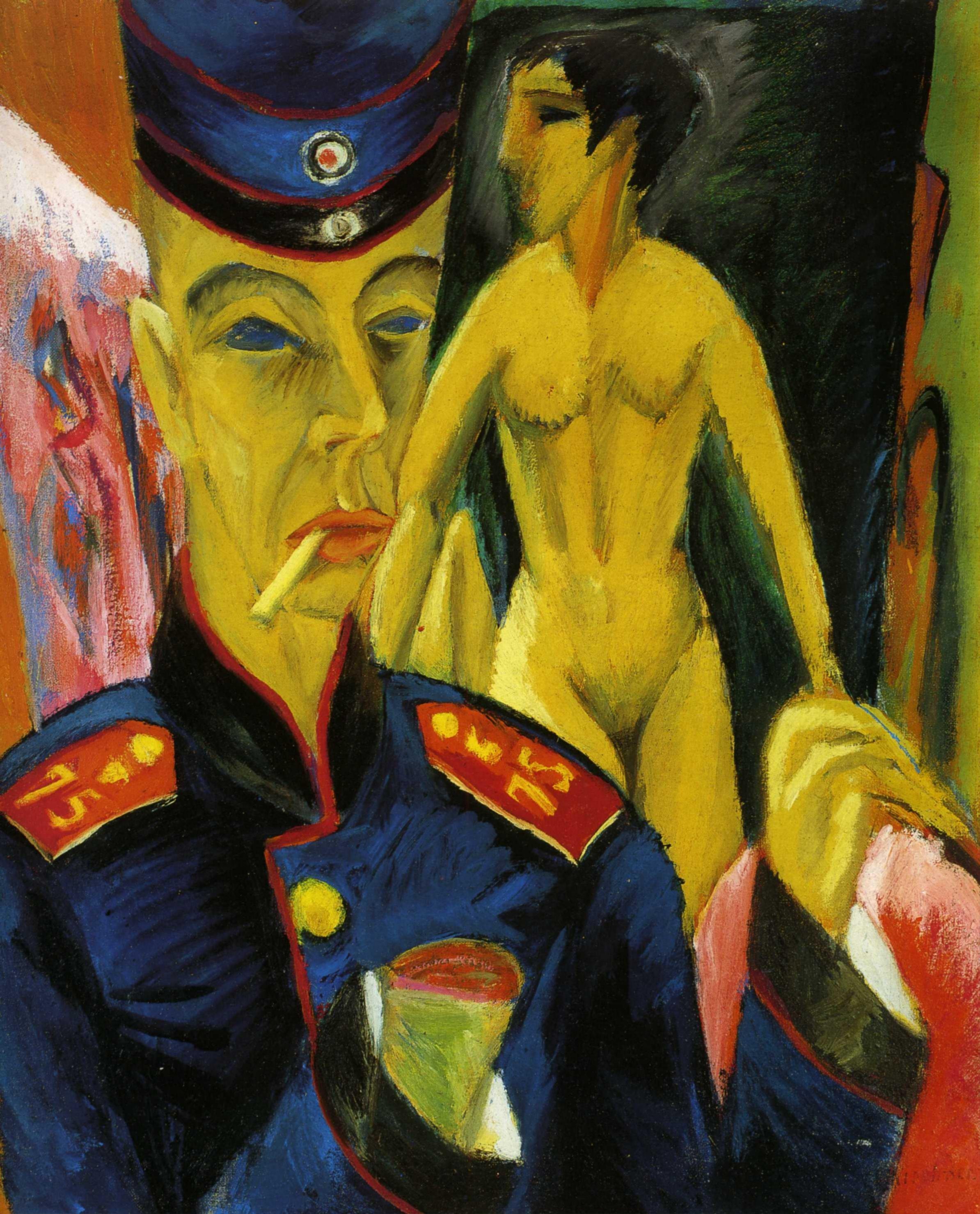Эрнст Людвиг Кирхнер (1880 — 1938) — немецкий художник, график и скульптор, представитель экспрессионизма. 1915. «Солдат и шлюха»