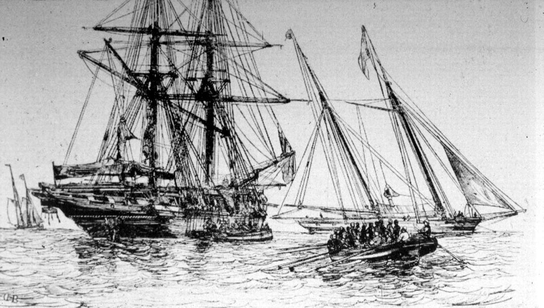 Погрузка рабов на судно для их перевозки через Атлантический океан (1844 год)