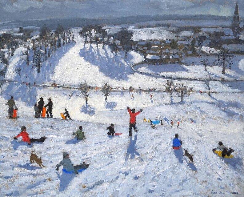 Пришла зима веселая с коньками и салазками