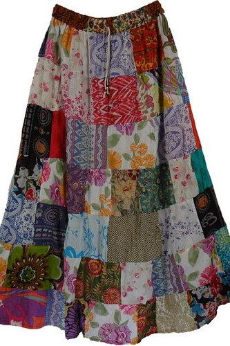 Cotton Patchwork Multicolor Long Skirt - thelittlebazaar.com