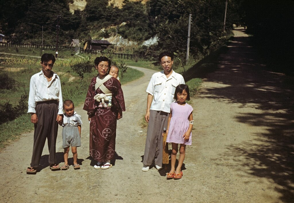 Family at Yoshimi Caves, Sept 1951