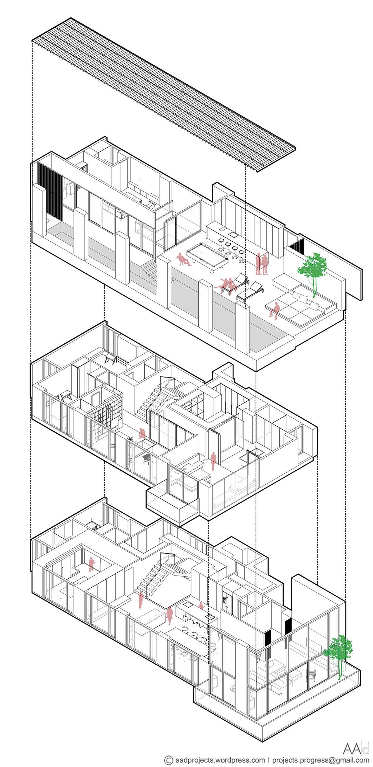 Дизайн-ателье AAd, пентхаус в Бангкоке, план квартиры, схема квартиры, PANO, пенхтаус с видом на город, трехэтажный пентхаус, бассейн в квартире