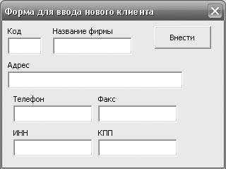 Рис. 3.2. Форма ввода информации о клиентах