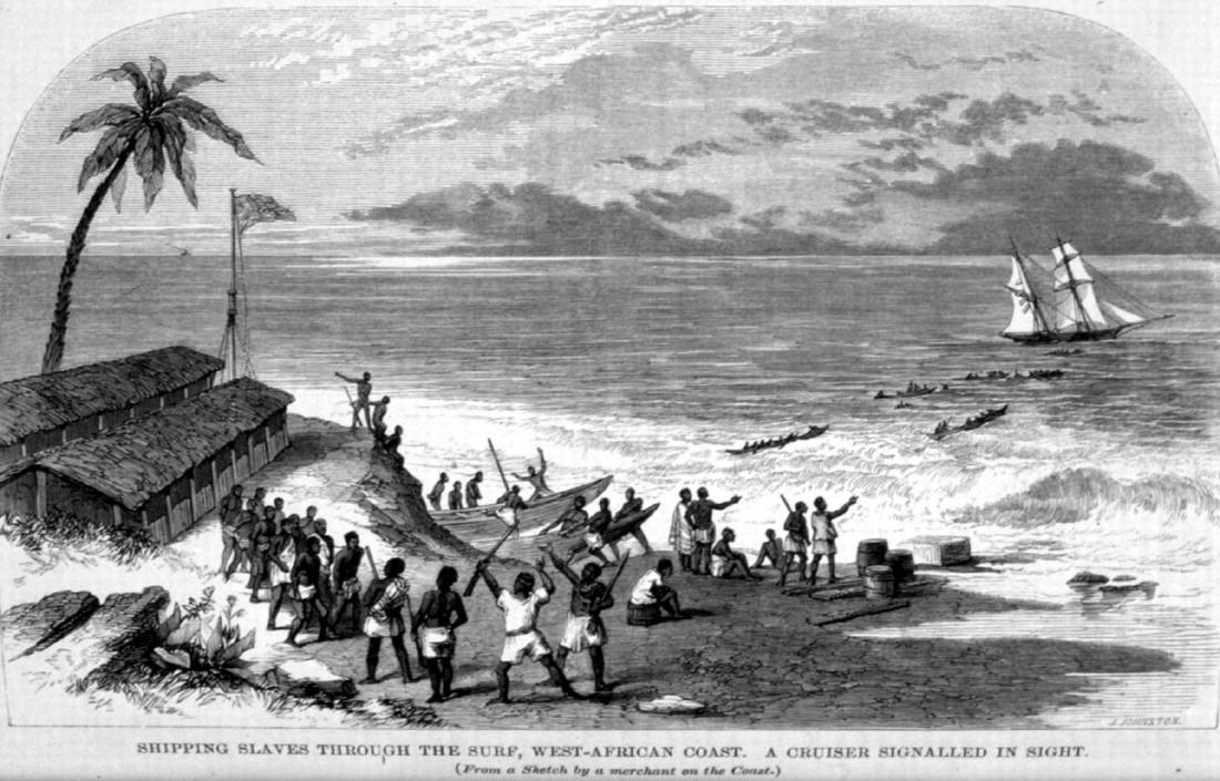 Погрузка рабов на судно для отправки в Америку (Нигерия, 1850 год)