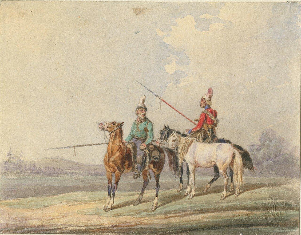 Киргизские или башкирские всадники, 1831