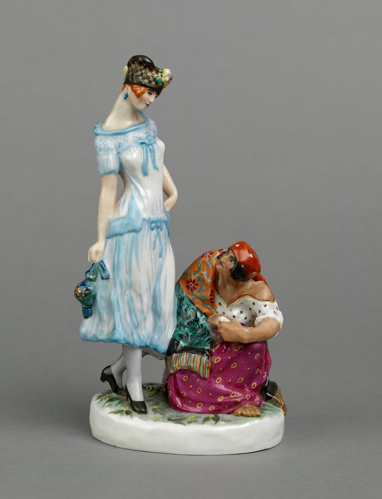 Young woman with a fortune teller, Leningrad State Porcelain Factory, 1920s.jpg