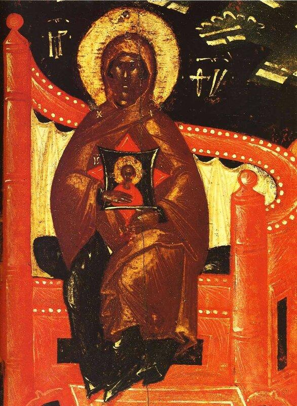 Собор Пресвятой Богородицы. Икона. Псков, конец XIV - начало XV века. Фрагмент. Богородица с Младенцем.