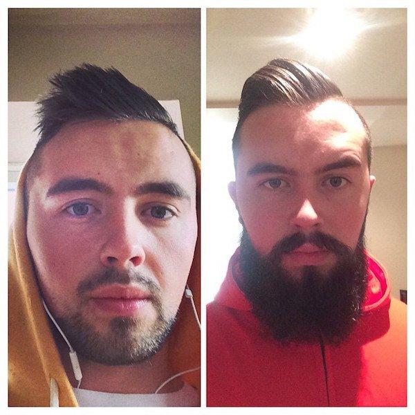 с бородой и без