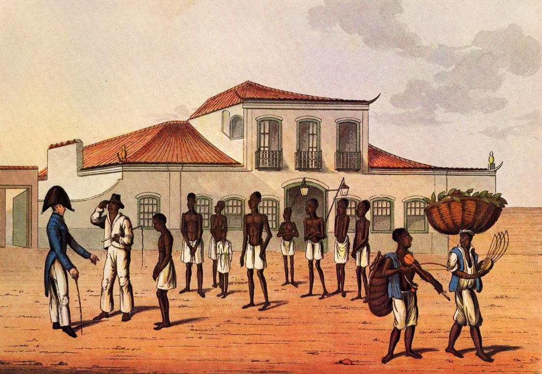 Очередная партия рабов, недавно доставленных на Американский континент (Рио-де-Жанейро, 1820 год)