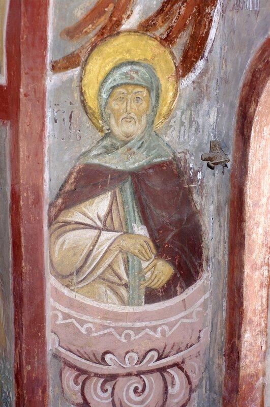 Святой Преподобный Алипий Столпник. Фреска Успенского собора в Свияжске. XVI век.