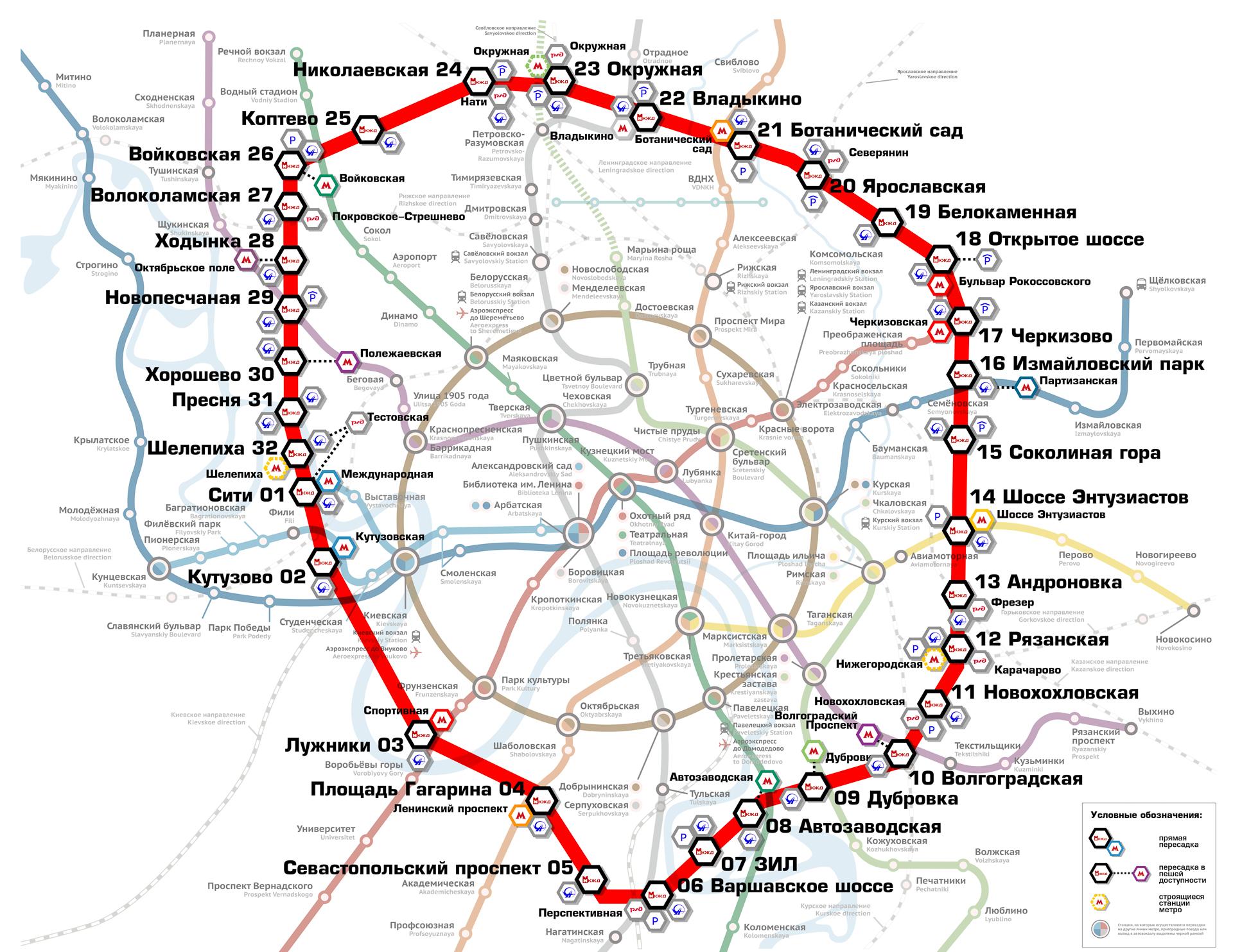 второе кольцо в московском метро схема