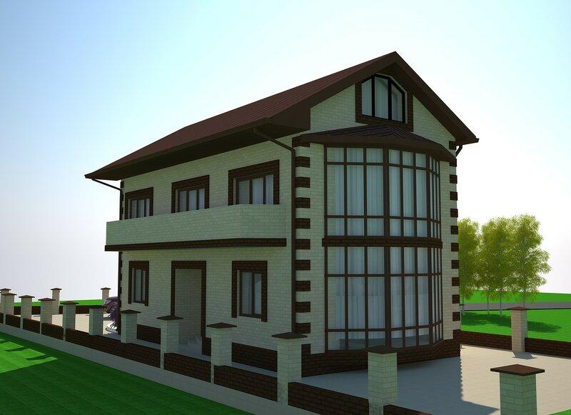 Проект частного дома. Фасад 4