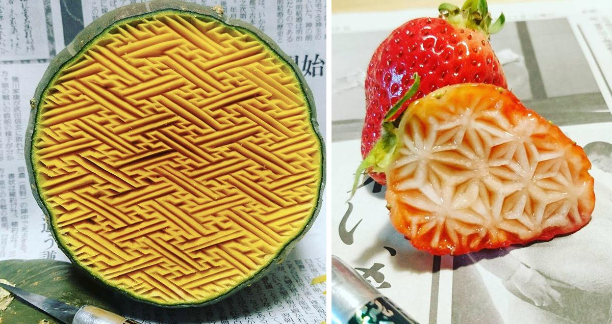 Новые работы резьбы на фруктах от Goku