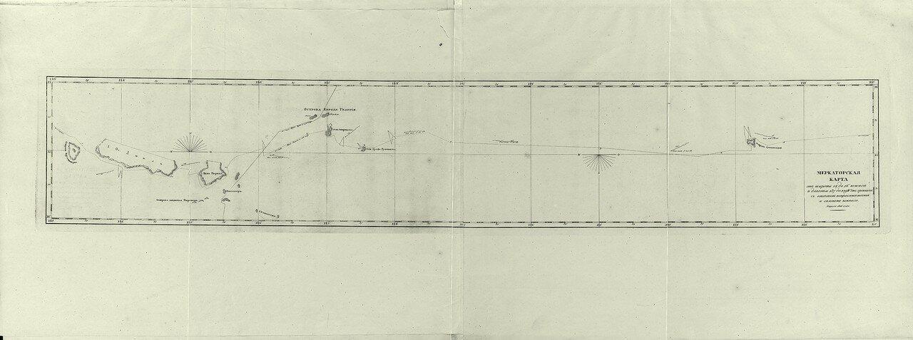 03. Меркаторская карта от широты 14° до 16° южной и долготы 137° до 149° W от Гринвича с означением направления течения и склонение компаса. Апреля 1816 года