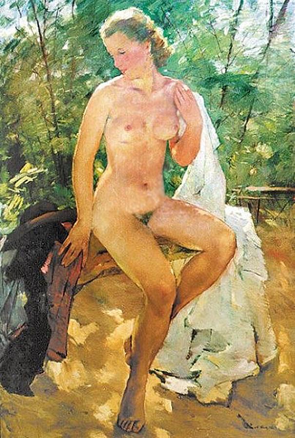 Hertha im Garten (1946) Anton Lutz (1894-1992) Austria__Герта в саду (1946) Антон Лутц (1894-1992), Австрия