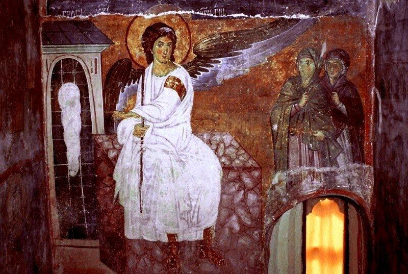 Явление Ангела жёнам-мироносицам. Фреска монастыря Милешева (Милешево), Сербия. До 1228 года.