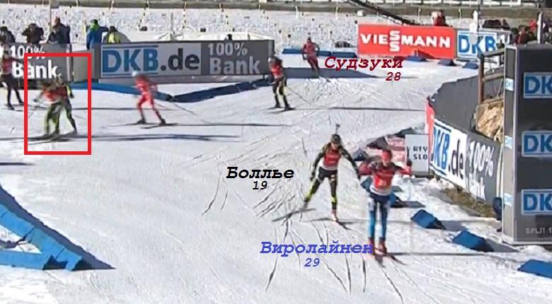 Момент столкновения Домрачевой в масс-старте