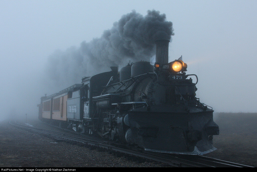 Denver &; Rio Grande Western Railroad Locomotive DSNG 473,  Steam 2-8-2, Durango, Colorado, USA, February 24, 2009.jpg