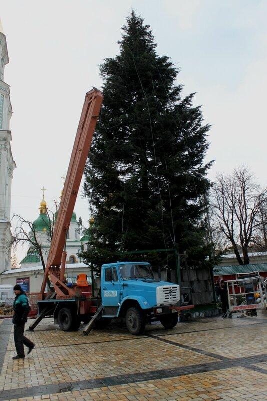 Монтаж главной ёлки Киева