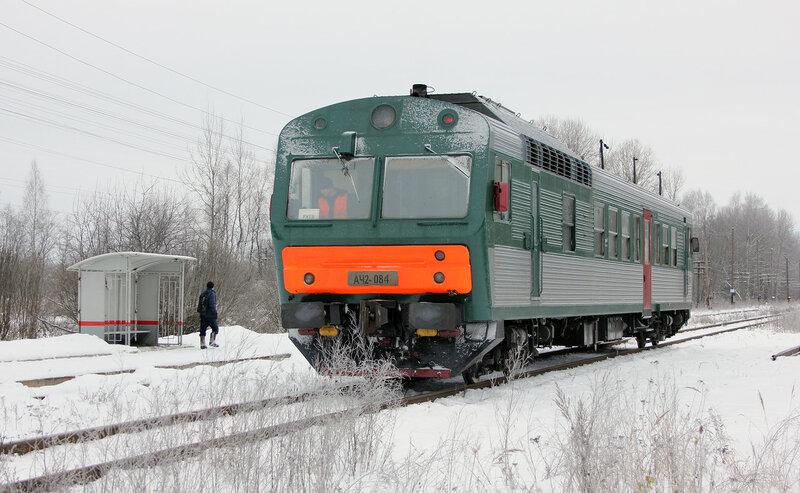 АЧ2-084 рейсом 6432 Вязьма - Ржев-Балтийский на станции Рождествено с будкой