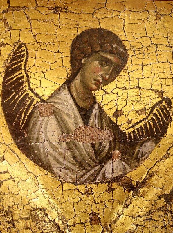 Ангел Господень. Фрагмент византийской иконы в монастыре Ватопед на Афоне.