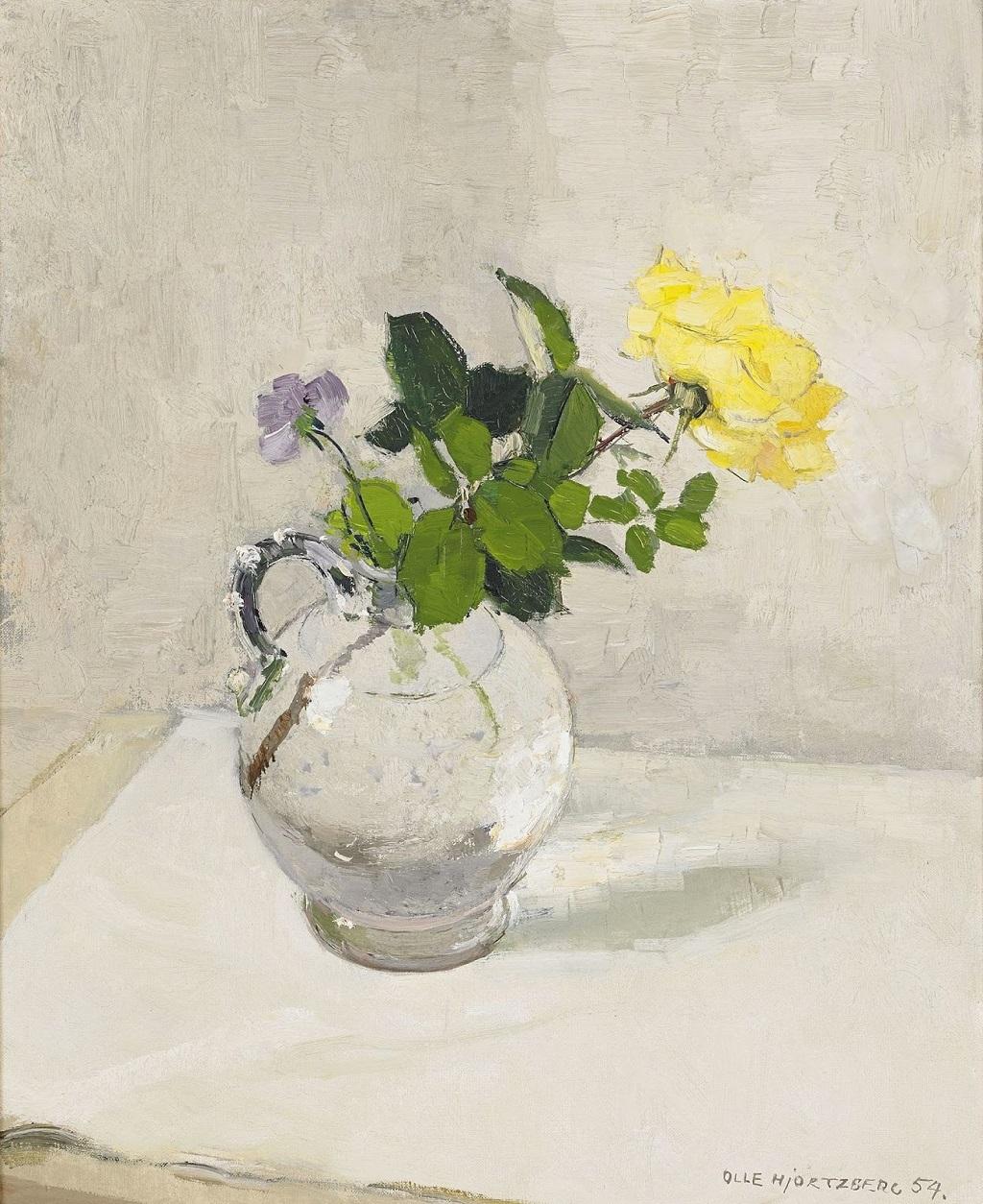 27-1954_Роза и виола в стекляннной вазе_60 x 50_х.,м._Частное собрание.jpg