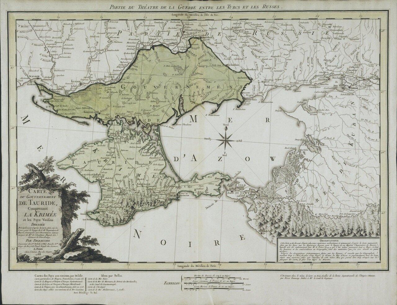 1788. Карта Тавриды, в том числе Крыма и соседних стран