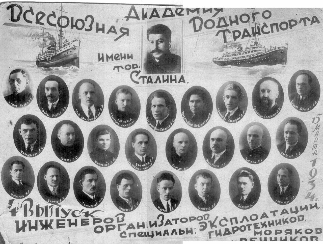 1934. 4 выпуск инженеров организаторов. Всесоюзная Академия Водного Транспорта