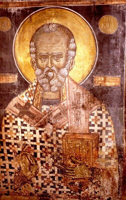 Святитель Николай, Архиепископ Мир Ликийских, Чудотворец. Фреска. Охрид, Македония.