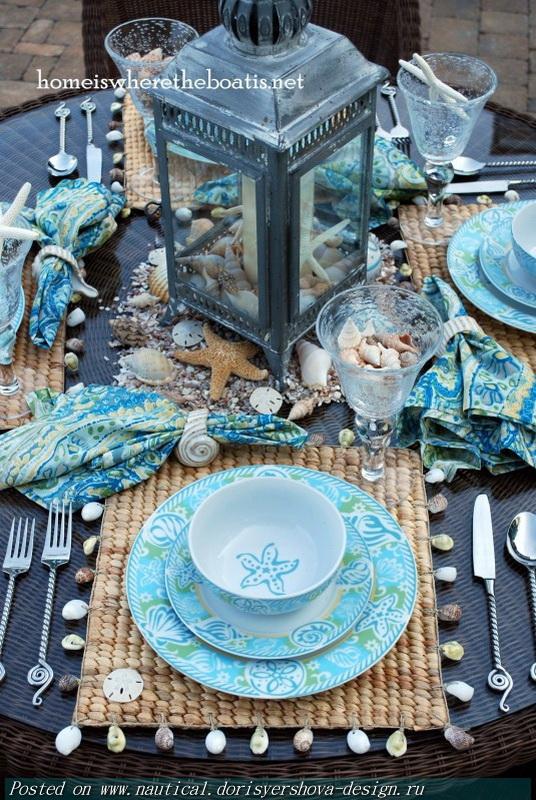 МОРСКОЙ ДЕКОР В СЕРВИРОВКЕ СТОЛА, МОРСКОЙ ДИЗАЙН, ГОЛУБОЙ, АКВАМАРИН, СИНИЙ, РАКУШКИ, КОРАЛЛЫ, СИНИЙ, МОРСКОЙ, СЕРВИРОВКА, МОРСКОЙ СТИЛЬ, In a sea theme table setting, nautical design, blue, aquamarine, BLUE, shells, coral, blue, sea, serving, marine style,