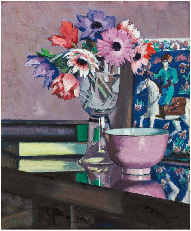 Francis Campbell Boileau Cadell (1883-1937).Still Life. Anemones. Oil on panel. 46 x 35.5 cm. Painted in 1931.jpg