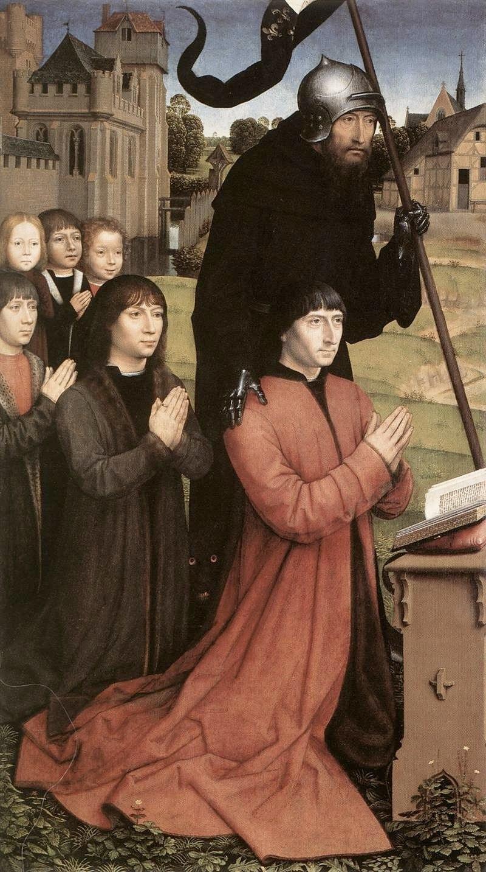 """Ханс Мемлинг. """"Триптих Вильяма Мореля"""" 1484 левая панель"""