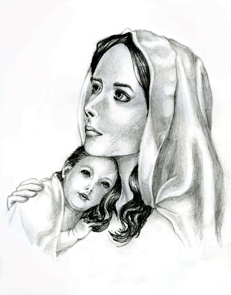 Женщина с ребенком картинки карандашом, новый
