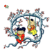 Chinese children on the tree Graphics clipart.
