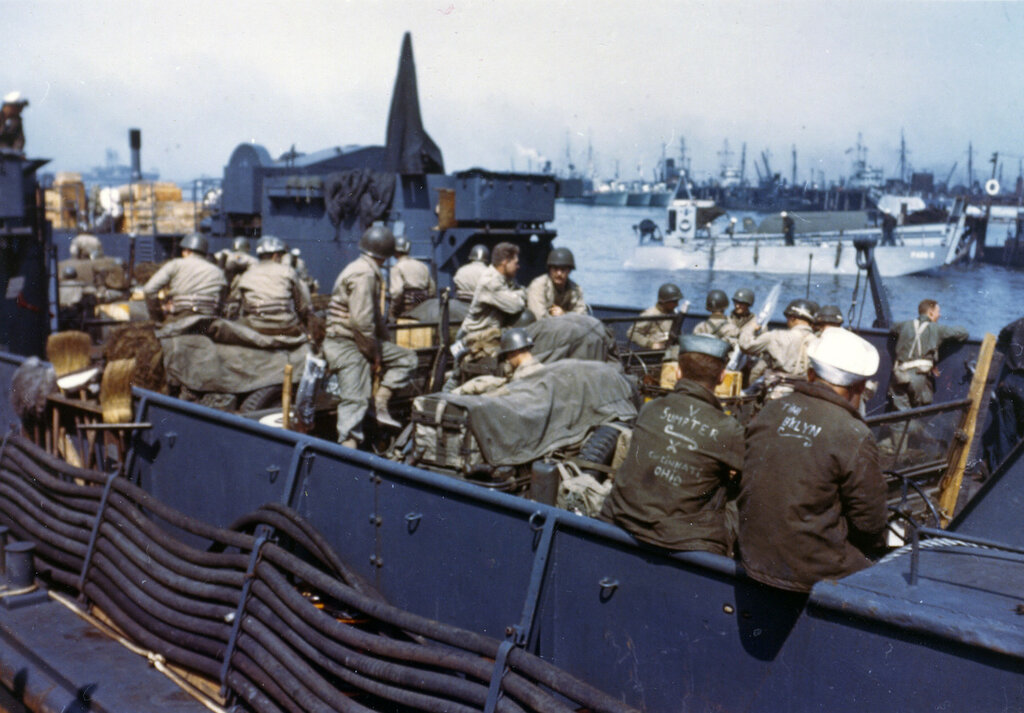L.T.C. with American troops and equipment loaded aboard awaiting the siganl for the assault against the continent.